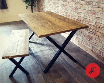 Industrial Rustic Style Dining Table And Bench   Kitchen Table   Reclaimed  Rustic Plank Wood Top   Metal X Frame   Handmade In The UK