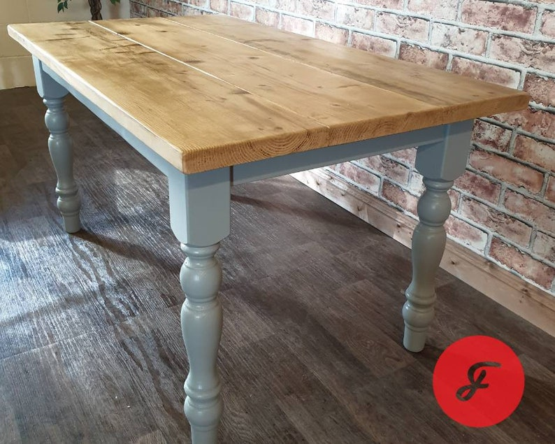 The Farmhouse Dining Table and Bench - Antique Pine Top - Rustic -  Reclaimed - Handmade - Kitchen Table