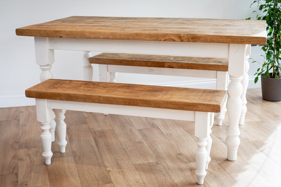 White Farmhouse Dining Table And Bench Set Handmade In The Uk Etsy