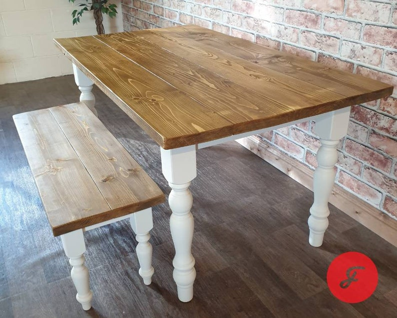Awe Inspiring Farm Table And Bench Set Rustic Farmhouse Dining Table Set Reclaimed Plank Top Country Style Handmade Kitchen Table Medium Oak Forskolin Free Trial Chair Design Images Forskolin Free Trialorg