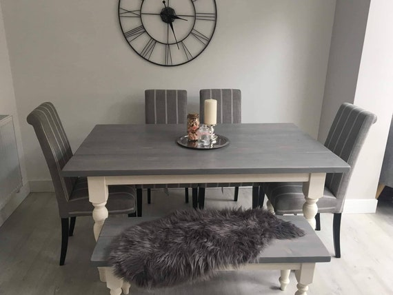 Astounding Farmhouse Table And Bench Set Grey Wash Reclaimed Wood Top Machost Co Dining Chair Design Ideas Machostcouk