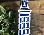 Vintage SARGADELOS Blue and white Authentic signed vase liquor holder Free Ship