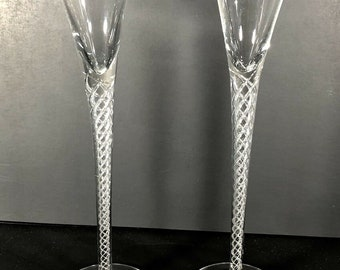 cfb42819d16 2 - Air Twist CORDIAL Glass 9 1 4 inches TALL Clear Crystal FREE shipping !!