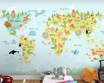 World Map Child Room Wallpaper Nursery Wall Mural Child Room Decoration CR32