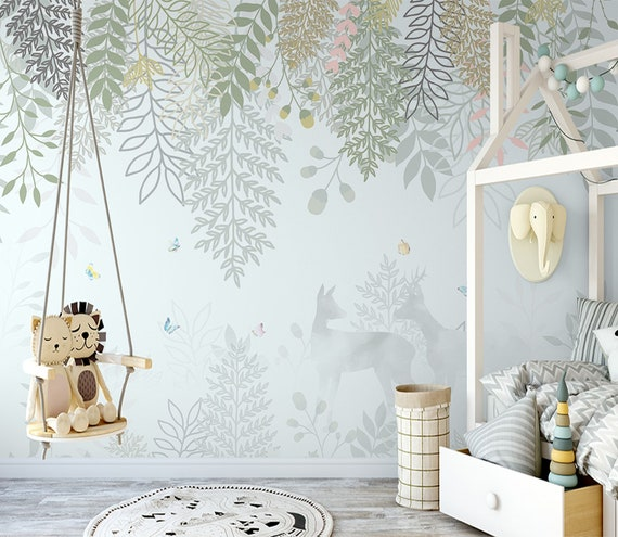 Child Room Wallpaper Floral Baby Room Large Wall Mural | Etsy