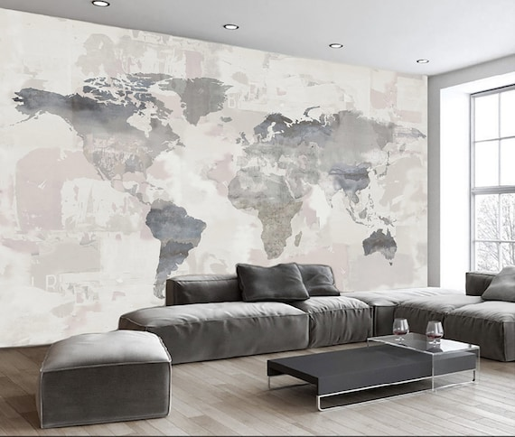 3D Embossed World Map Gometric Wall Mural  Home Decor For Living Room Bedroom Entryway Cafe WM58