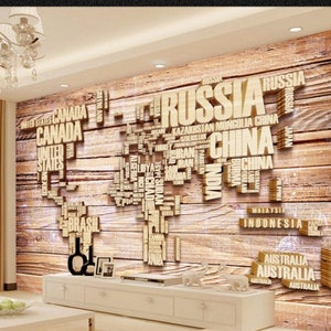 WM51 World Map Wall Paper 3d  Embossed Effect Modern Wall Mural Home Decor For Living Room Bedroom Entryway Cafe