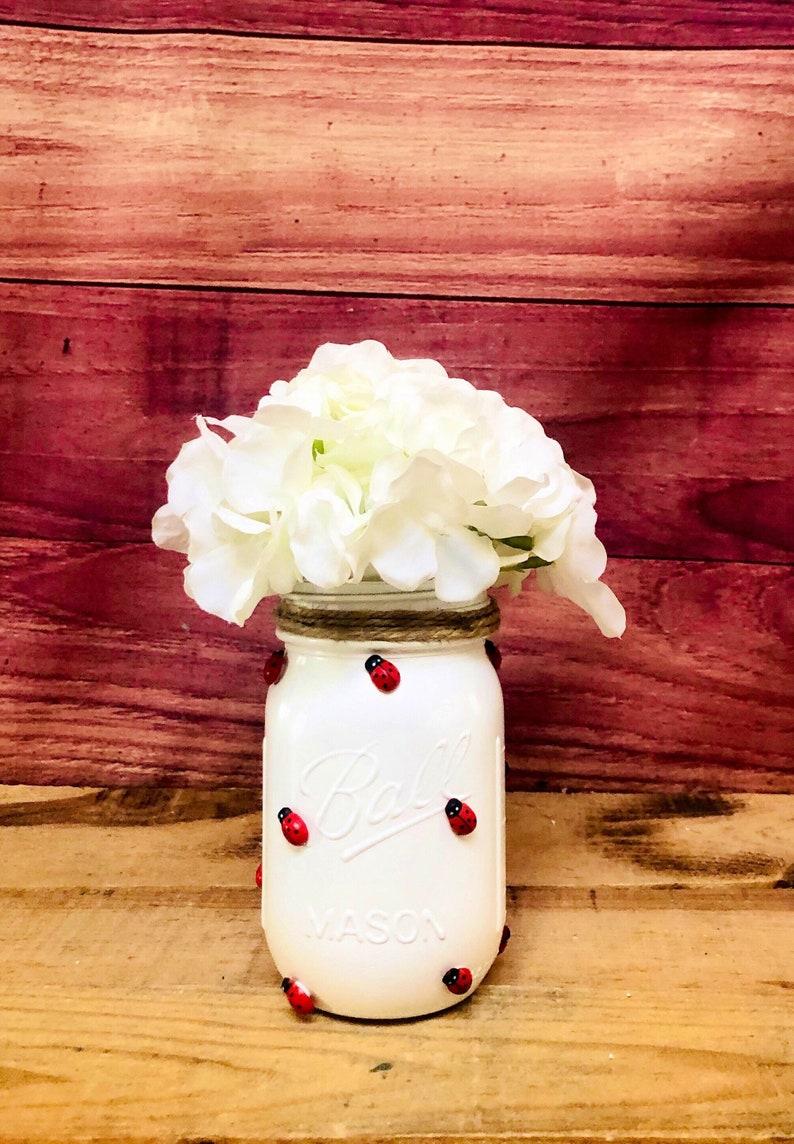 Ladybug party Ladybug Mason Jar Spring and Summer Home Decor Ladybug Centerpiece Ladybugs Ladybug Decor