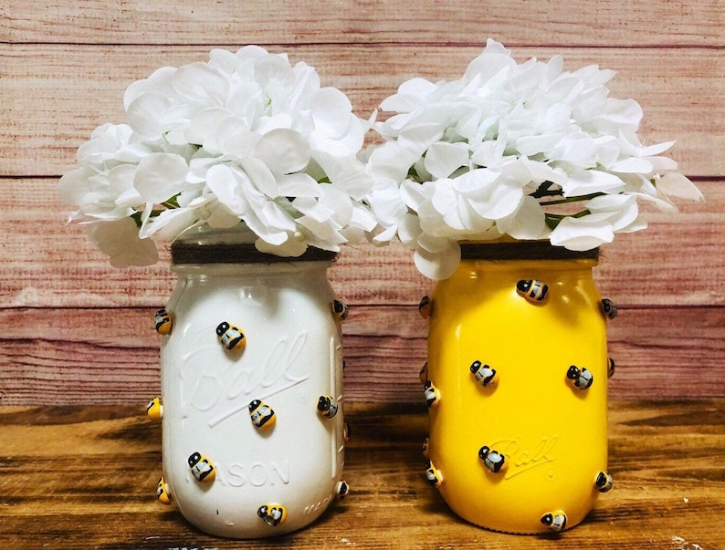 Bumblebee  Mason Jar Bumblebee Decor Baby Shower Decor Jar with Flowers