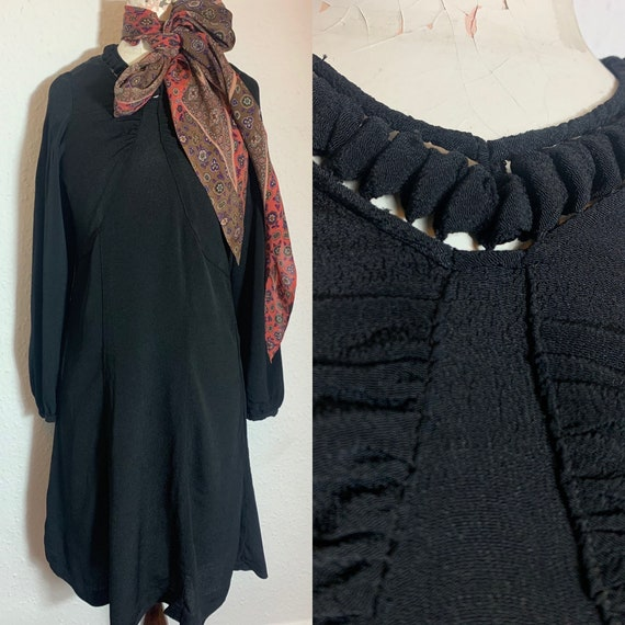 1930s crepe black dress & large pointed scarf 1940