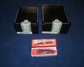 drew estate cigar wood box lot of 2 dirty torpedo and dirty mint with free pocket knife