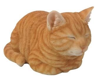 Tabby Kitten - Orange/Grey Tabby Statue For Home Garden Decor - Realistic Lifelike Figurine