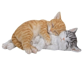 Spooning Tabby Cats Statue   Home Decoration   Outdoor Garden Figurine Realistic Kittens