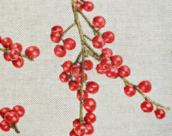 Fabric Cotton fabric natural winter berries red