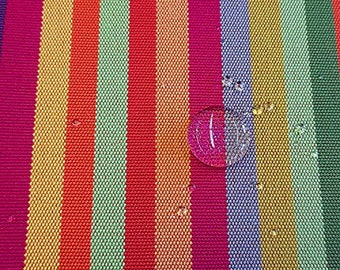 """Fabric Outdoor fabric Dralon strip red yellow colorful """"Caribe""""water-repellent lightfast"""