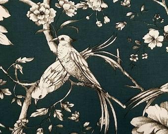 """Fabric cotton """"Fauvette"""" Toile de Jouy birds petrol"""