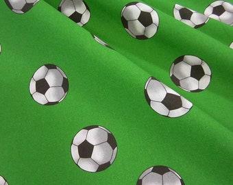 Fabric cotton Football green white retro