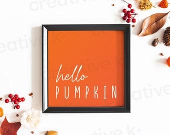 Hello Pumpkin - Halloween -  Autumn - Fall - Typographic Poster - Wall Decor - Digital Download - Print Yourself