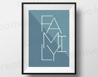 Family - Downloadable Print - Typographic Poster - Wall Art - Home Decor - Printable - Digital Download