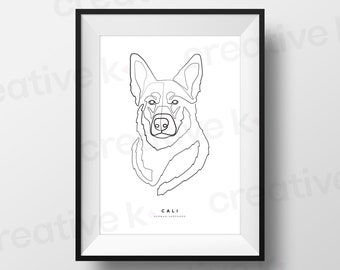 Custom One Line Pet Drawing • Digital Download • Dog • Cat • Continuous Line Art •Portrait from Photo • Gift