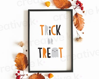 Trick or Treat - Ghost - Halloween - Autumn - Fall - Typographic Poster - Wall Decor - Digital Download - Print Yourself