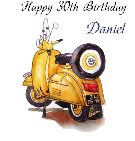 Personalised Yellow Motorbike Birthday Card Husband Dad Brother Uncle Son