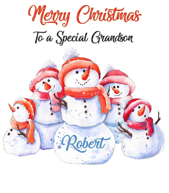 personalised Santa Christmas card grandson any name//relation//occasion.