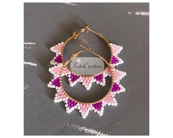 Pink Spike Earrings • Beaded Hoops • Gifts For Her • Beaded Accessories •