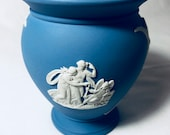 Wedgewood, Jasperware Vase, with wide mouth opening. Blue with designs in White