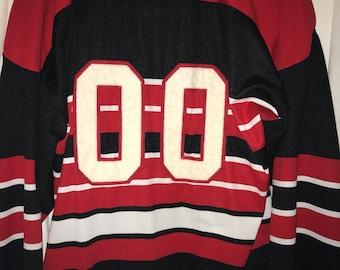 0f46db4fe Ebbets field flannels vintage authentic size 2xl xxl 100% polyester hockey  jersey 00 red white black stripe V 4 victory virginia vanderbilt