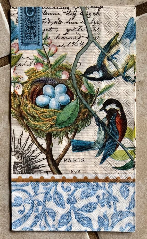 New Beautiful Blue Bird Floral Paper Napkins Decopouging Crafting