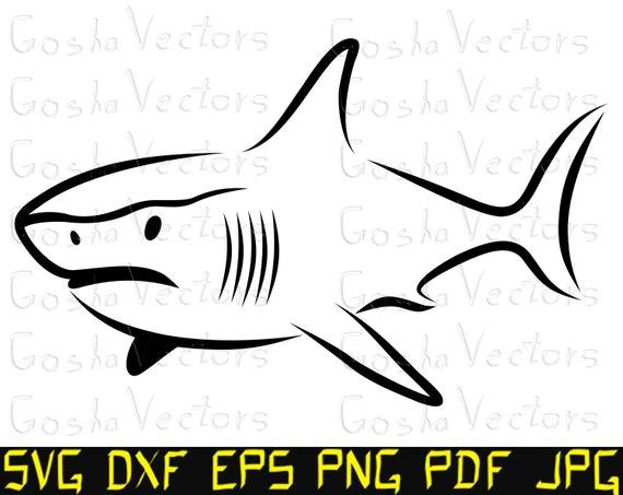 Shark SVG Shark Silhouette Shark Vector Clipart Printable Cut Files Cricut Digital File