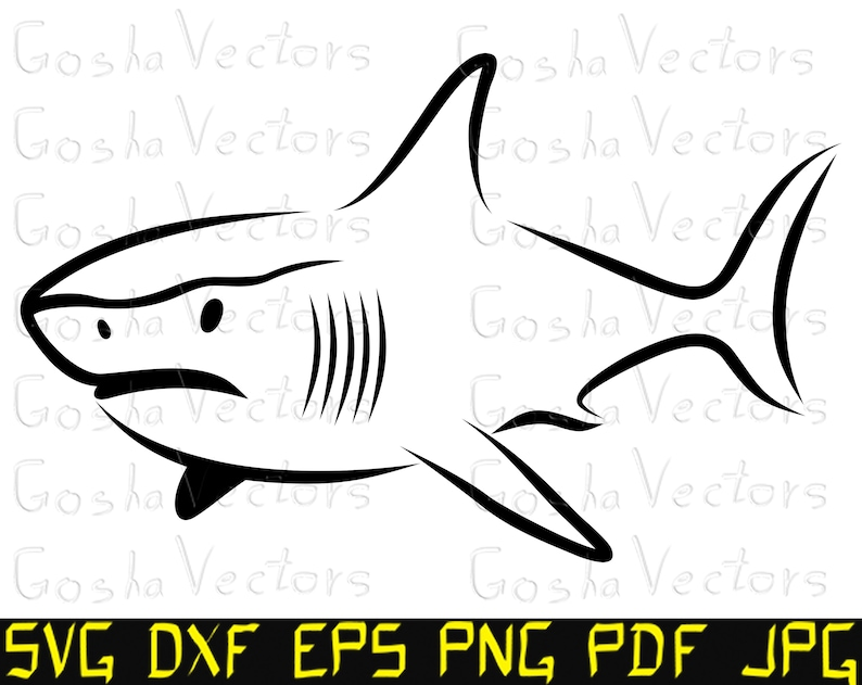 image about Shark Stencil Printable named Shark svg. Fish svg. Chopping history template, Cameo, Cricut, t blouse, DXF, silhouette, vector clipart, vinyl decal, printable, engraving.