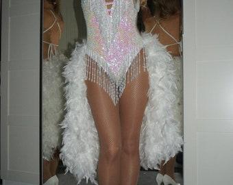 Vegas Showgirl Feather Bustle skirt - Burlesque thick long feather boa bum skirt, secure adjustable clip-on elastic waist, any colour