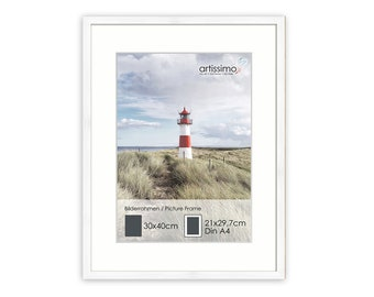 artissimo, PE6359-WR, white picture frame 30 x 40 cm with passepartout, interchangeable frame for pictures Din A4, wood, real wood frame, color white