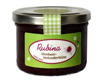 1,96EUR/100g Marmelade Himbeere Holunderblüte Rubina