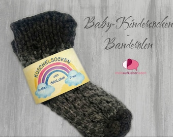 6 Kids - Sock Banderoles: Cuddly Socks - Yellow Rainbow | customizable, with 6 transparent adhesive points