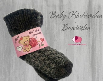 6 Kids - Sock Banderoles: Knitted with Love - Pink Teddy | customizable, with 6 transparent adhesive points