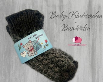 6 Kids - Sock Banderoles: Knitted with Love - Light Blue Kitten | customizable, with 6 transparent adhesive points
