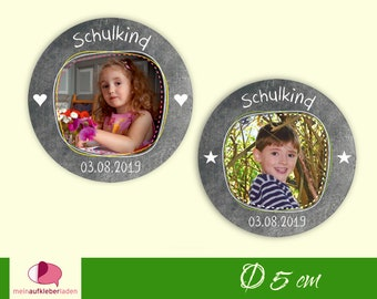 30 Stickers | School child - customizable with photo, labels for schooling with table optics