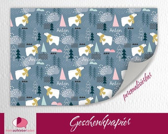 Sustainable Gift Wrapping Paper for KInder | Polar bear in the forest - customizable, basic price 15 Euro/meter