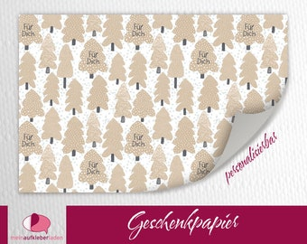 Sustainable Gift Wrapping | Conifers light brown - For you, winter gift wrapping paper with fir trees, basic price 15 Euro/meter