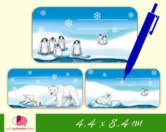 12 Staple Stickers |  Polar Bear - Penguin - Seal, School Labels to Label Yourself,