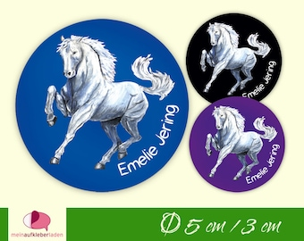 30 School Stickers | white horse | Name stickers round