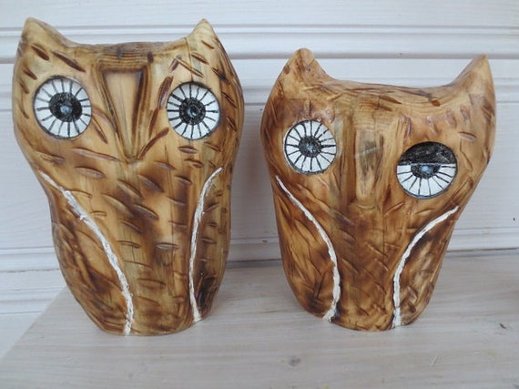 Eule 3 er Set Holz 20 cm 17 cm 15 cm Handarbeit Eulen Deko Tier Figur