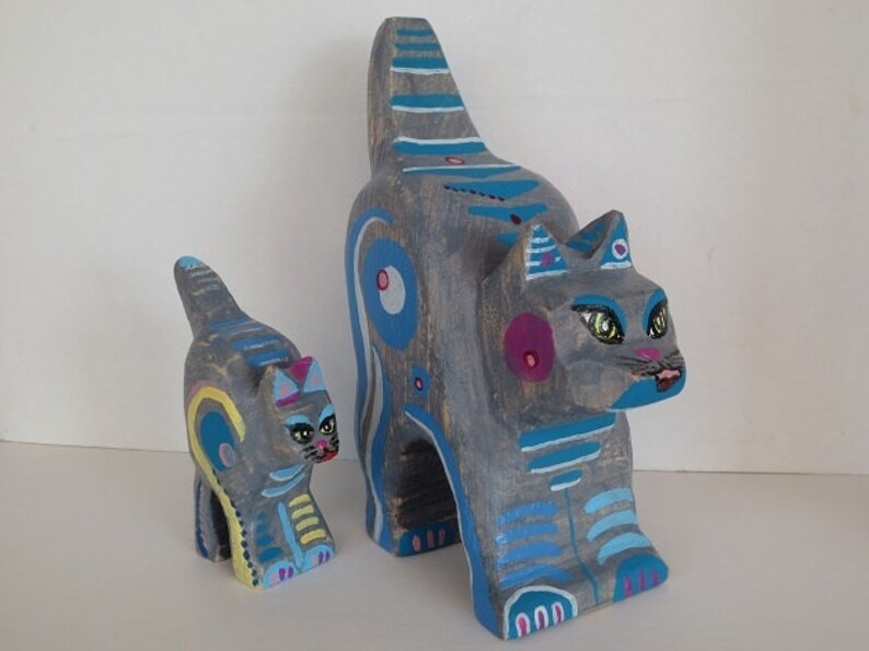 Blue grey painted cat couple cm wooden cats deco etsy