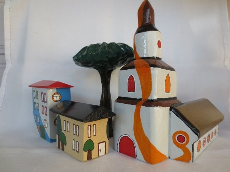 Toy houses for children 4 pieces, toy house small, wooden toys, deco houses  wood, small wooden houses deco, wooden houses and tree