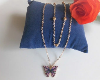 Double necklace with butterfly pendant in gold - gift card for mom friend sister - plus gift wrapping and thank you stickers