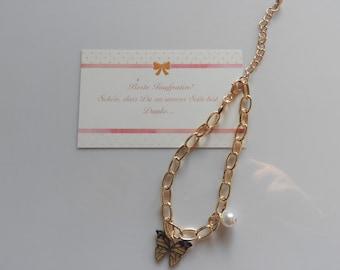 Taufpatin - Karte + Schmetterling - Armband in Gold plus Geschenkverpackung mit Thank You - Sticker