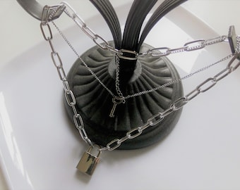 Necklace with lock Large- Small Double Link Chain- Punk - Gothic Style in stainless steel with lock and key